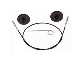 Výměnné lanko KnitPro 80 cm černá, stříbrná