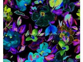 uplet-modre-a-zelene-kvety-na-cerne