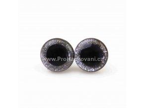 Oči bezpečnostní třpytivé stříbrné, 20 mm