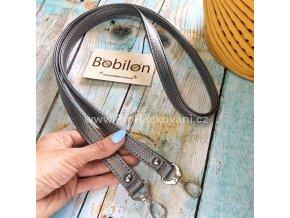 Koženkový popruh na kabelku 107 cm grafitový s karabinou