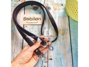 Koženkový popruh na kabelku 107 cm hnědý s karabinou