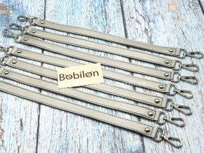 Koženkový popruh na kabelku 34 cm stříbrnošedý s karabinou