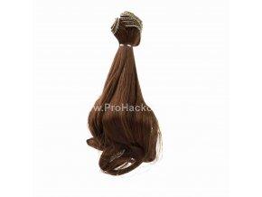 Vlasy pro panenky vlnité 20x100 cm hnědá