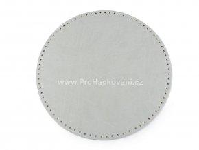 Koženkové dno na kabelku kulaté Ø 25 cm světle šedé