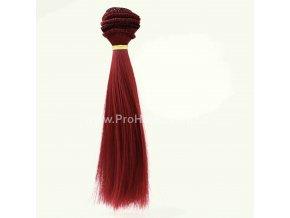 Vlasy pro panenky rovné 16x100 cm tmavě červená