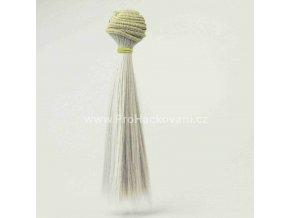 Vlasy pro panenky rovné 16x100 cm světle šedá