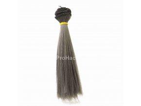 Vlasy pro panenky rovné 16x100 cm tmavě šedá