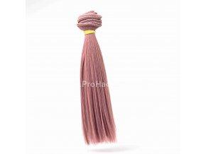 Vlasy pro panenky rovné 16x100 cm starorůžová