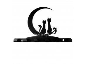 Kovový věšák černý - kočky na měsíci