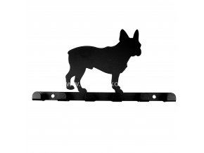 Kovový věšák černý - pes buldoček