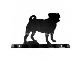 Kovový věšák černý - pes mops