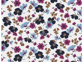 tencel-modal-uplet-modre-a-fuchsiove-kvety-na-smetanove