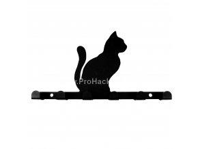 Kovový věšák černý - kočka