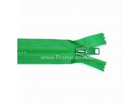 Kostěný zip dělitelný 75 cm zelený