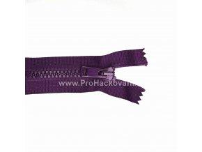 Kostěný zip dělitelný 75 cm tmavě fialový