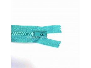 Kostěný zip dělitelný 75 cm tyrkysový