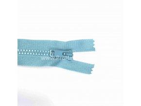 Kostěný zip dělitelný 75 cm světle modrý