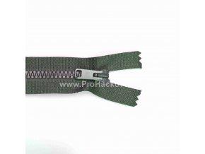 Kostěný zip dělitelný 75 cm šedo-zelený