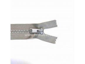 Kostěný zip dělitelný 75 cm světle šedý