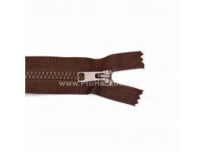 Kostěný zip dělitelný 75 cm tmavě hnědý