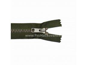 Kostěný zip dělitelný 75 cm tmavá khaki