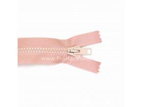 Kostěný zip dělitelný 75 cm světle růžový