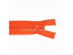 Kostěný zip dělitelný 75 cm oranžový