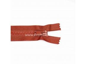 Kostěný zip dělitelný 75 cm rezavý