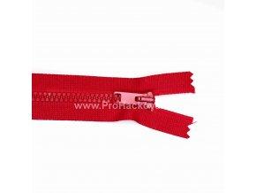 Kostěný zip dělitelný 75 cm tmavě červený