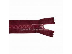 Kostěný zip dělitelný 75 cm vínově červený