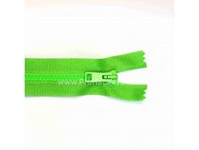 Kostěný zip dělitelný 75 cm jasně zelený