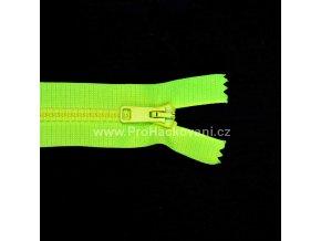 Kostěný zip dělitelný 75 cm neonově žlutý