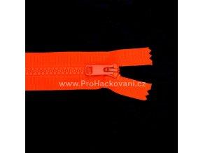 Kostěný zip dělitelný 75 cm neonově oranžový