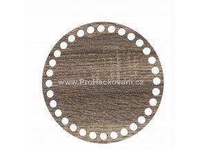 Dno na košík kruh Ø 15 cm dub šedý, jednostranný dekor