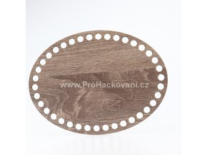Dno na košík ovál 15x20 cm dub šedý, jednostranný dekor