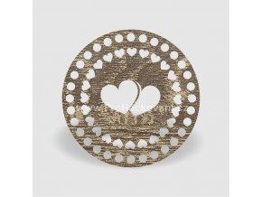 Víko na košík kruh Ø 20 cm dub šedý se srdíčky, jednostranný dekor