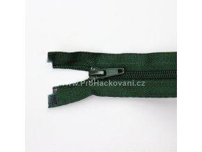 Spirálový zip dělitelný 30 cm myslivecky zelený