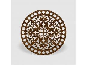Víko na košík kruh Ø 20 cm ořech, ornament