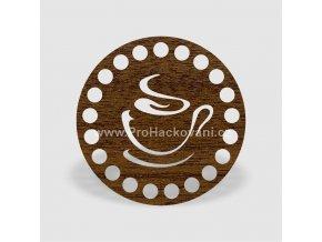 Víko na košík kruh Ø 10 cm ořech, podšálek, jednostranný dekor