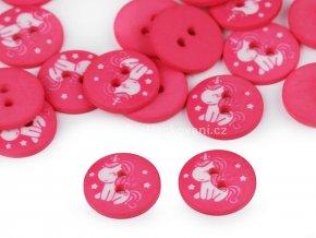 Knoflík kulatý jednorožec na růžové 16 mm