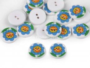 Knoflík kulatý květina modrá 13 mm