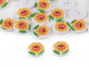 Knoflík kulatý květina žlutá 13 mm