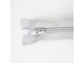 Spirálový zip dělitelný 20 cm šedostříbrný