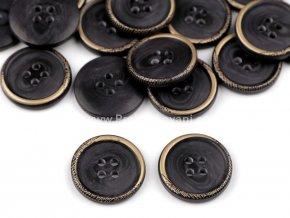 Knoflík kulatý černozlatý 20 mm