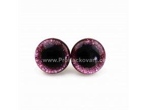 Oči bezpečnostní třpytivé světle růžové, 8 mm