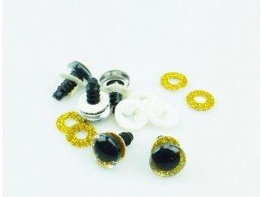 Oči bezpečnostní třpytivé zlaté, 14 mm