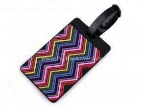 Jmenovka na kufr cik cak barevná