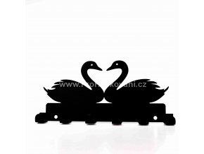 Kovový věšák černý - labutě