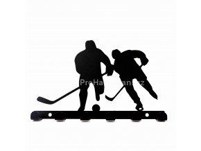 Kovový věšák černý - hokejisti