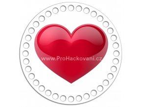 Dno s obrázkem kruh 15 cm červené srdce